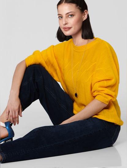 Yellow Textured Sweater