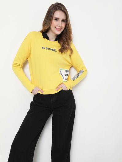 Yellow Graphic Print Sweatshirt
