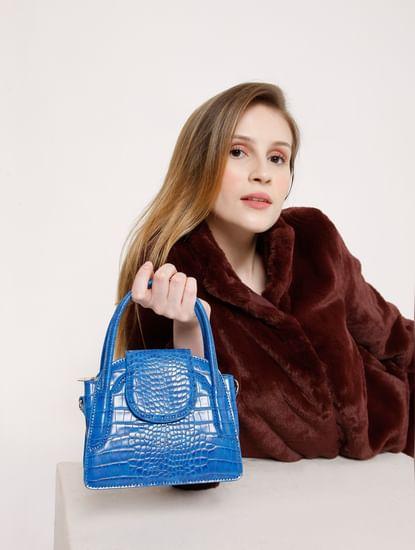 Blue Snake Skin Textured Sling Bag