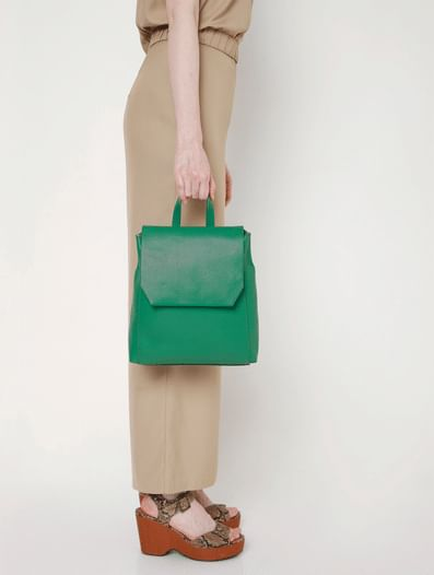 Green Faux Leather Backpack