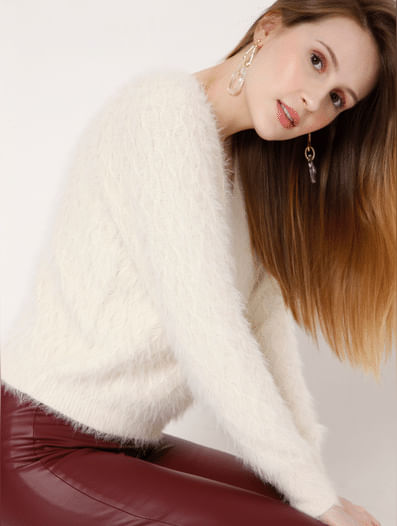 White Textured Knit Pullover
