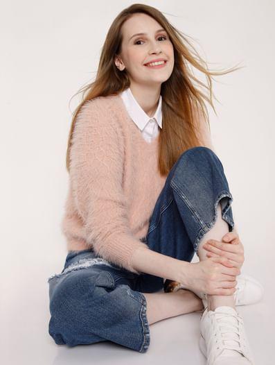 Light Pink Textured Knit Pullover