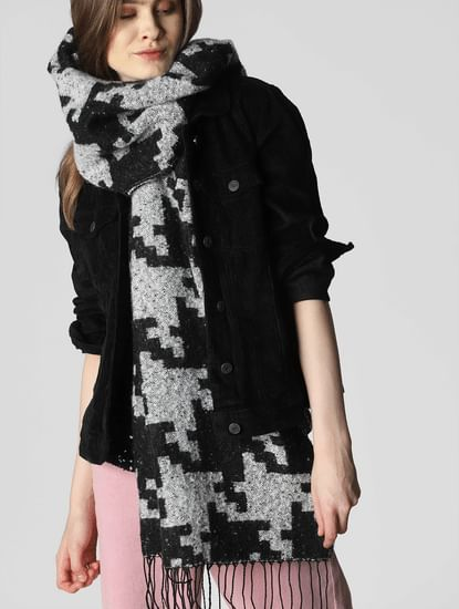 Black All Over Print Scarf