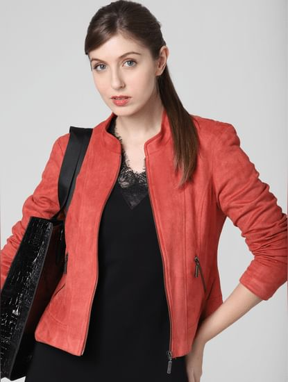 Coral Faux Suede Short Jacket