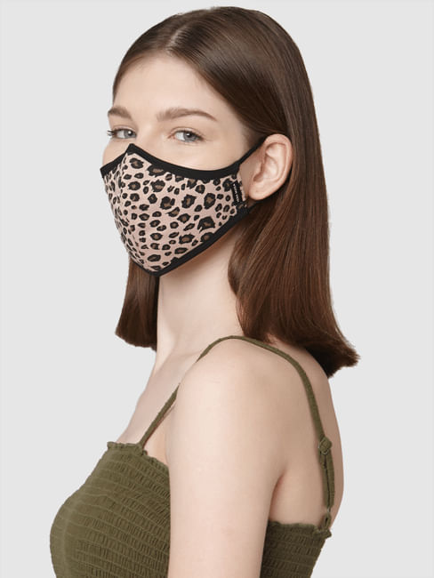 Pack of 2 3PLY Animal Print Knit Anti-Bacterial Mask