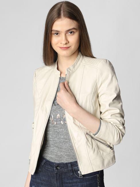 Cream Faux Leather Short Jacket