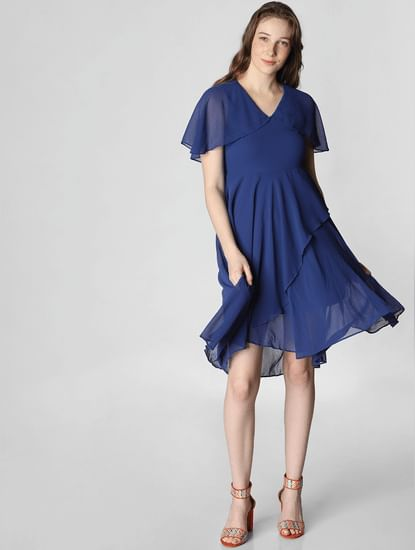 Blue Ruffle Fit & Flare Dress