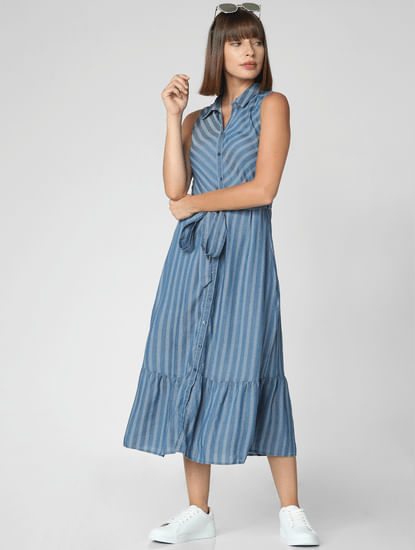 Blue Striped Belted Shirt Dress