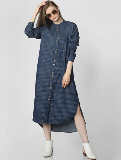 Blue All Over Print Shirt Dress