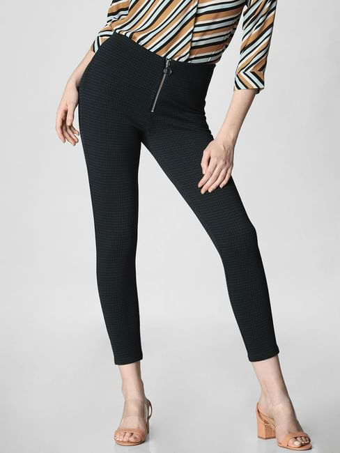 Green High Rise Check Tapered Fit Pants