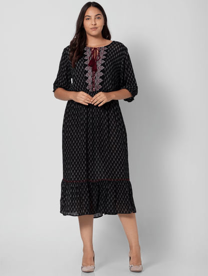 Black All Over Print Midi Dress