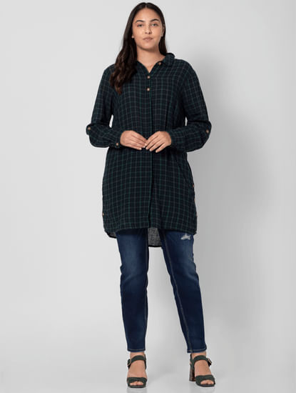 Green Check Print Tunic