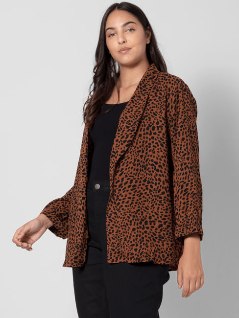 Brown Animal Print Blazer
