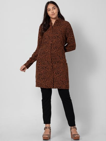Brown Animal Print Shirt Dress