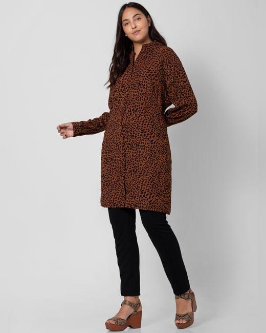 Brown Animal Print Shirt Dress