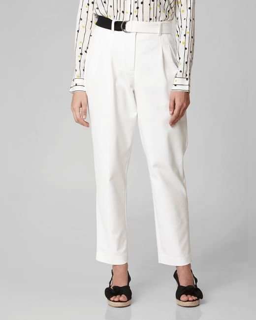 White High Rise Slim Fit Trousers