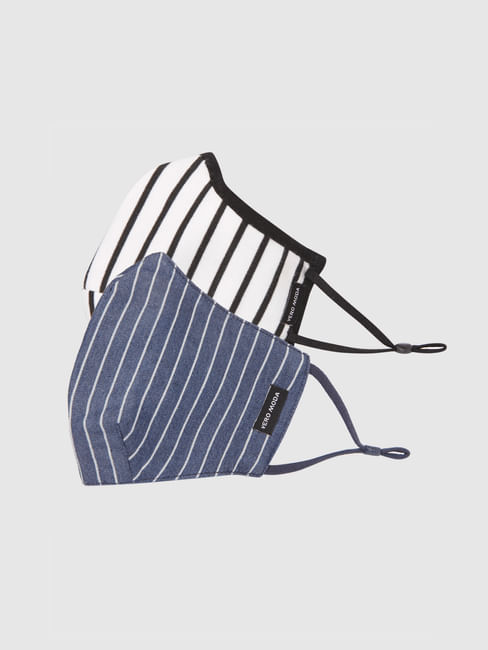 Pack of 2 Striped Knit 3PLY Anti-Bacterial Mask