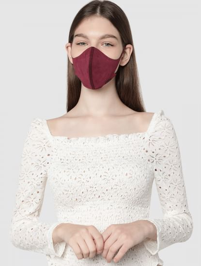 Burgundy 2PLY Anti-Bacterial Knit Mask with Changeable Filters