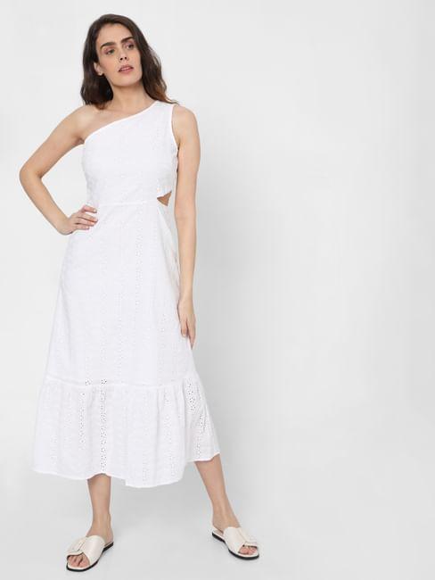 White One Shoulder Schiffli Midi Dress