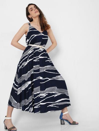 Blue Abstract Print Midi Dress
