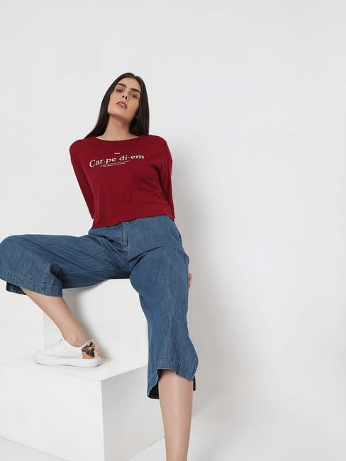 Maroon Slogan Print T-shirt