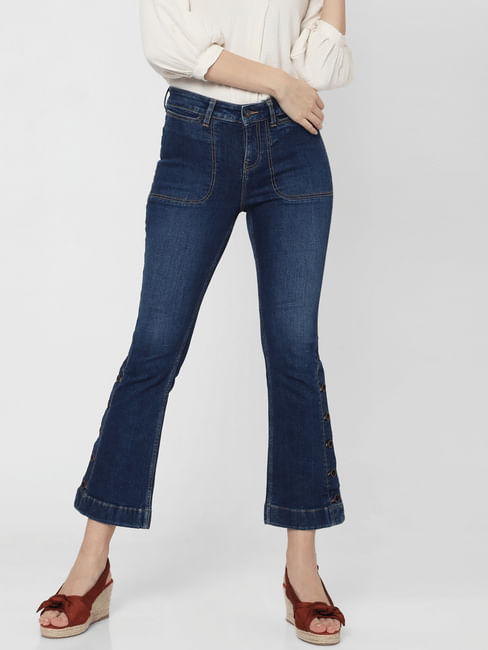 Blue Mid Rise Slit Ankle Bootcut Jeans