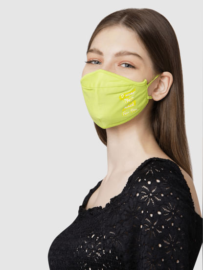 Pack of 2 3PLY Quote Print Knit Anti-Bacterial Mask