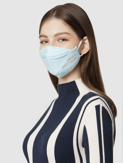 Pack of 2 3PLY Slogan Print Knit Anti-Bacterial Mask - Blue & Grey