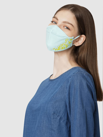 Pack of 2 3PLY Text Print Knit Anti-Bacterial Mask