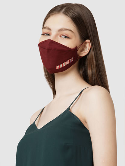 Pack of 2 3PLY Slogan Print Knit Anti-Bacterial Mask
