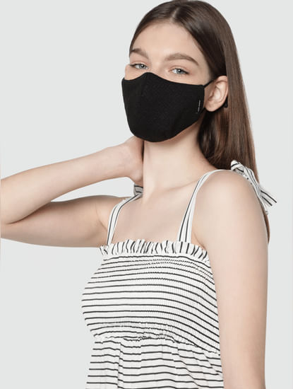 Pack of 2 3PLY Monochrome Knit Anti-Bacterial Mask
