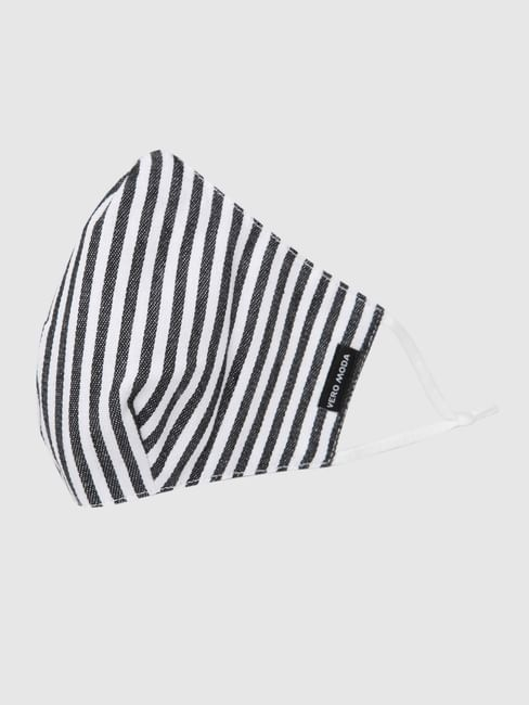 White Striped 3PLY Anti-Bacterial Knit Mask with Changeable Filters