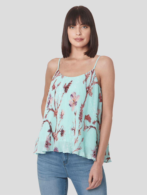 Green Pleated Floral Strappy Top