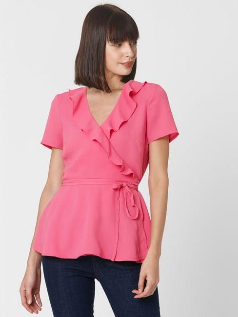 Pink Ruffle Wrap Top