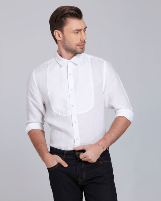 White Linen Slim Fit Shirt