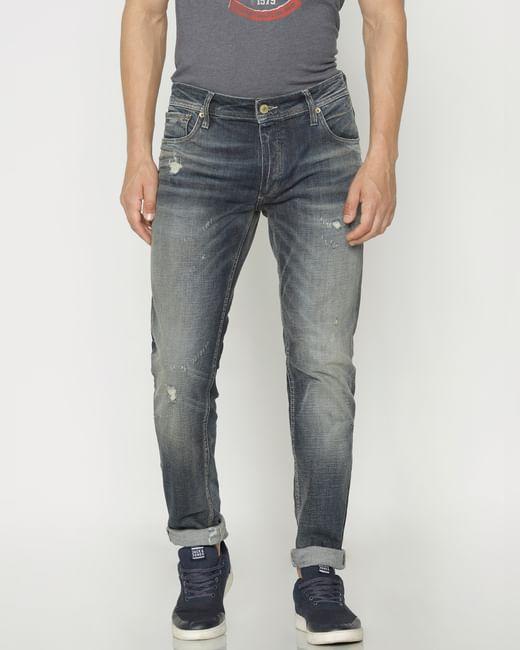 Blue Ripped Tim Slim Fit Jeans
