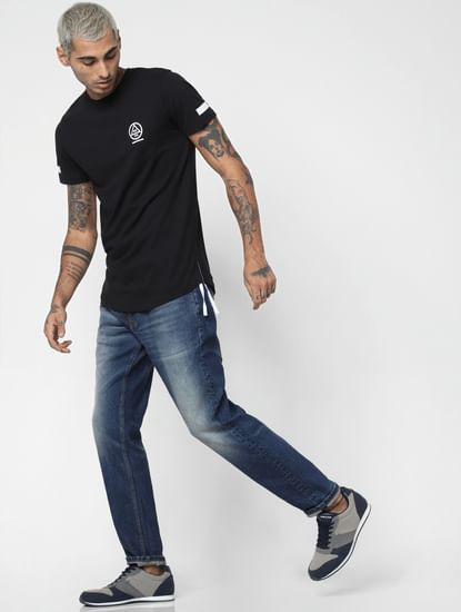 Blue Mid Rise Washed Mike Comfort Fit Jeans