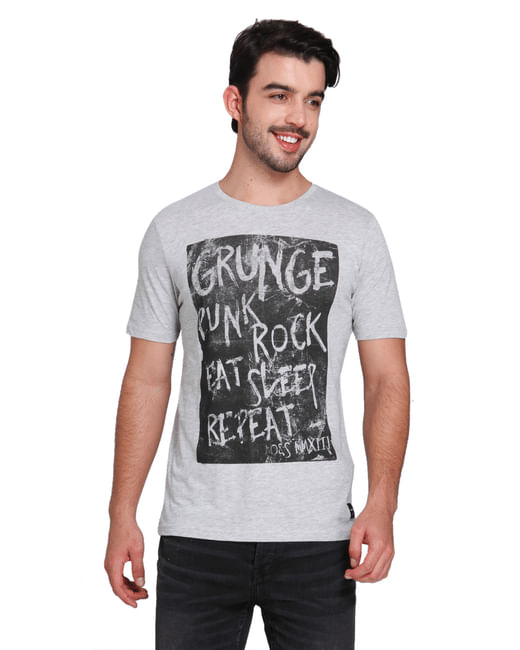 Grey Graphic Print Crew Neck T-shirt
