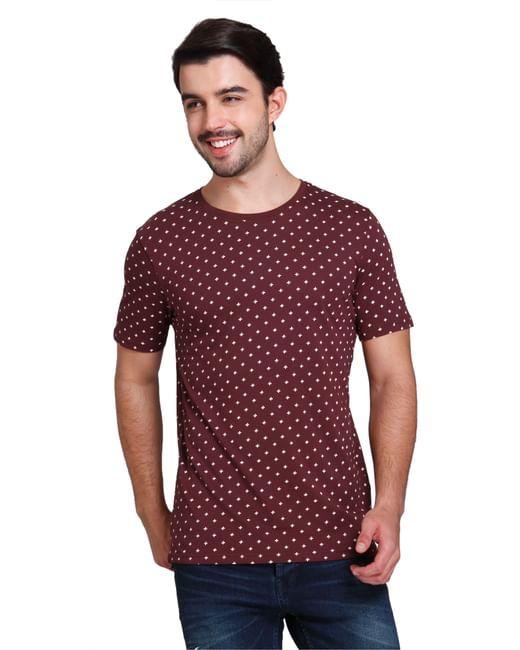 Burgundy All Over Print T-shirt