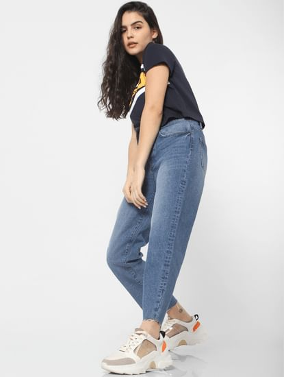 Blue Mid Rise Washed Girlfriend Jeans