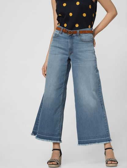 Blue Mid Rise Washed Wide Leg Jeans