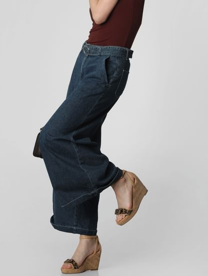 Blue Mid Rise Belted Wide Leg Jeans