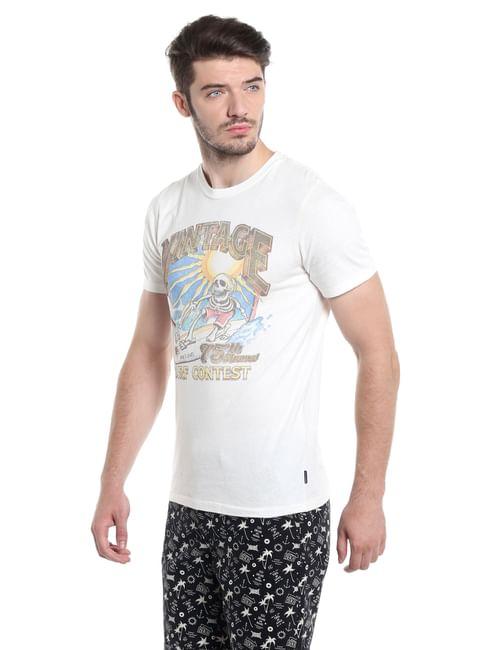 Graphic Print White Crew Neck T-Shirt