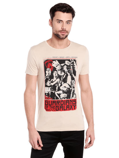 X Guardians Of The Galaxy Graphic Print Beige Crew Neck T-Shirt
