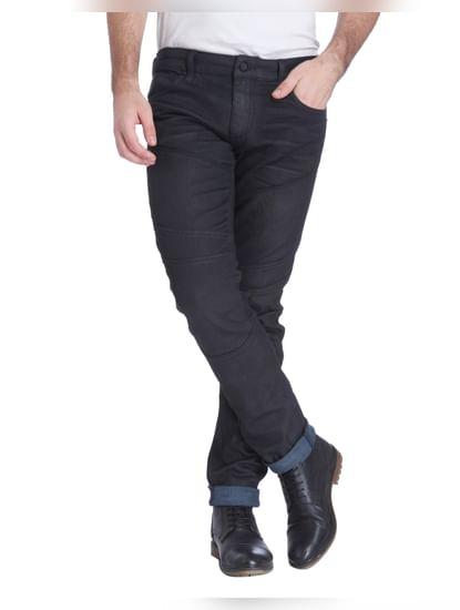 Black Low Rise Slim Fit Biker Jeans