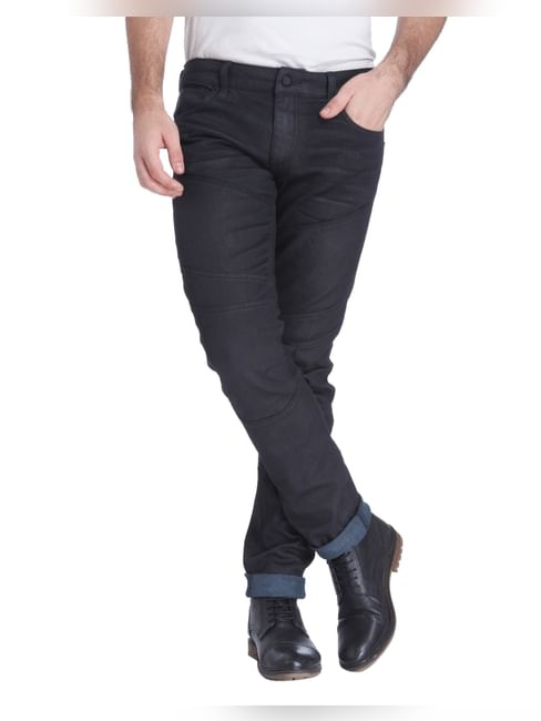 Black Low Rise Slim Fit Biker Jeans